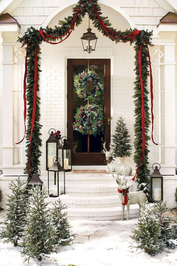 Christmas Greenery and Ribbon Entry