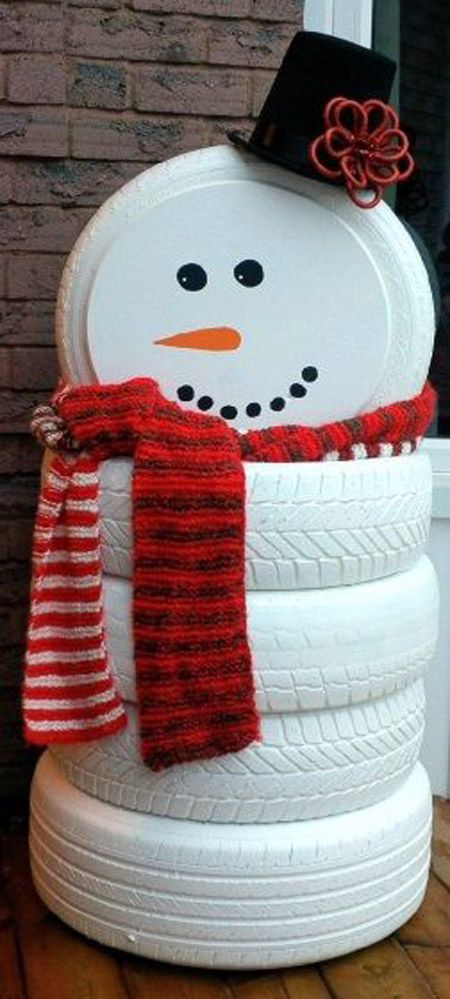 White Painted Tire Snowman For Porch Decoration.