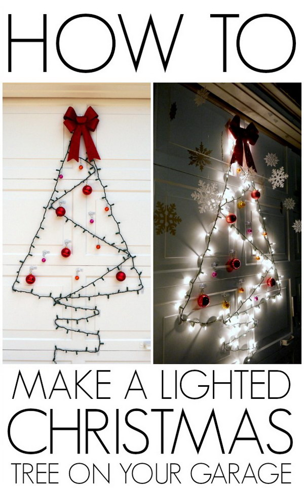 DIY Lighted Christmas Door Decoration