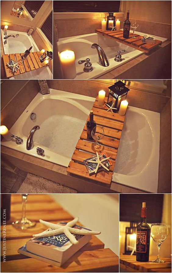 Bathtub Pallet Shelf.