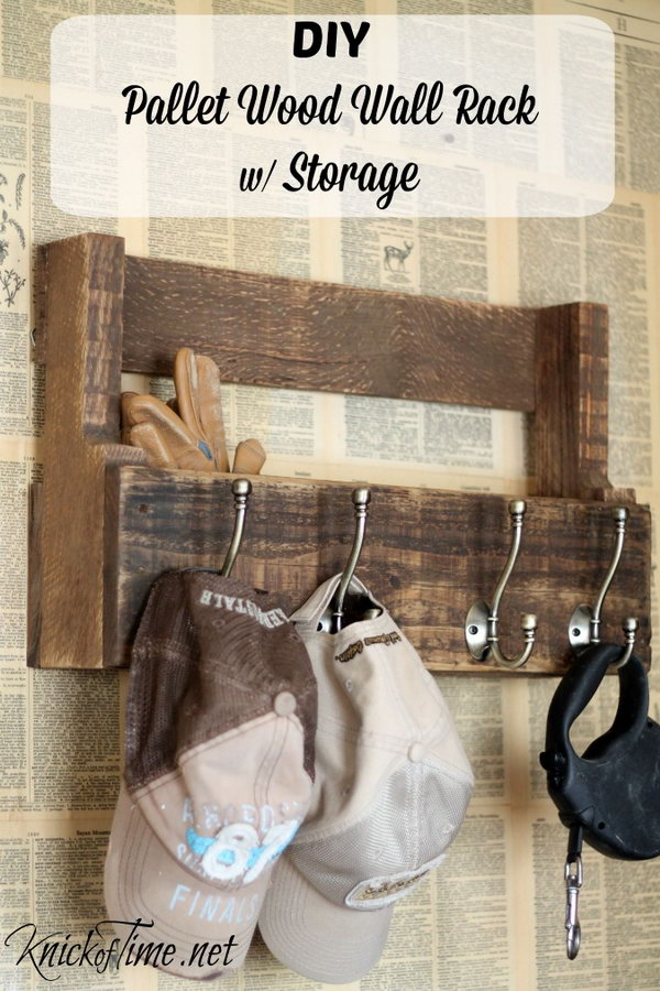 Pallet Wood Wall Rack for Coats, Hats and Storage.