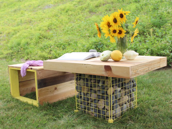 DIY Pallet Wood Bench and Gabion Table. See the tutorial