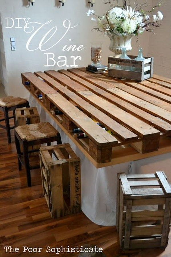 DIY Pallet Wine Bar. Get the full instructions