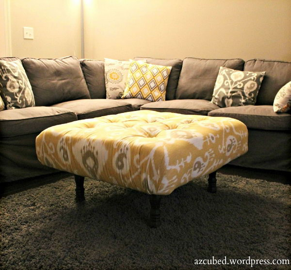 DIY Tufted Ikat Ottoman from Upcycled Pallet. See the instructions