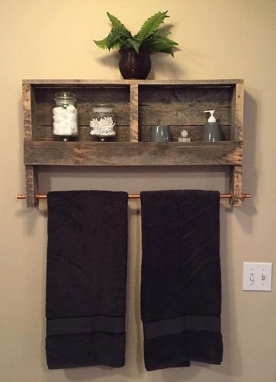 Pallet Wall Shelf With Clothing Rack.
