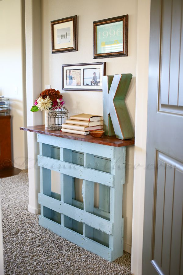 55 creative diy pallet project ideas tutorials 2017 beautiful pallet console table for not so wide entry solutioingenieria Image collections