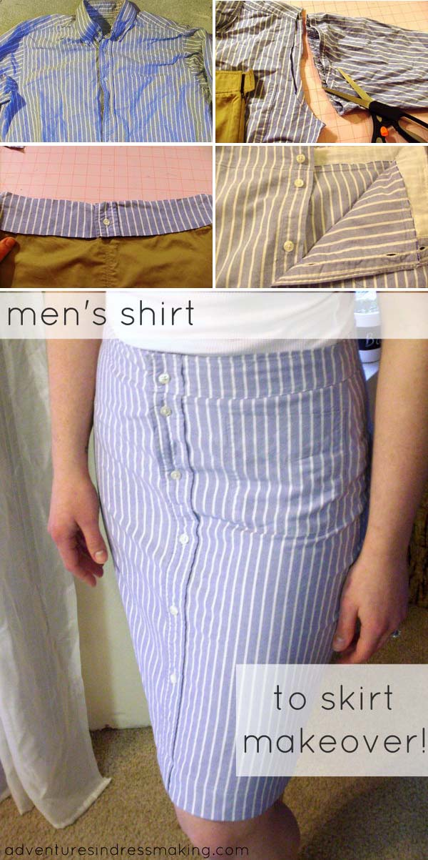 DIY Pencil Skirt Made from Men's Shirt.