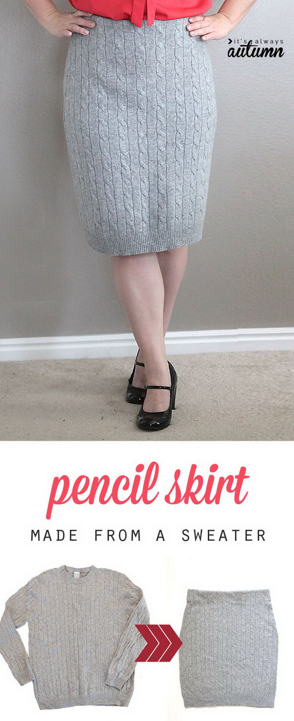 DIY Cable Knit Pencil Skirt Made from a Sweater.