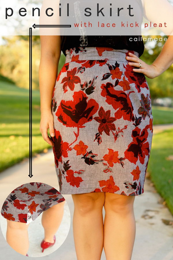 Flower Patterned Pencil Skirt.