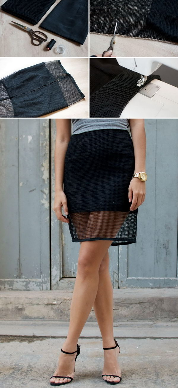 DIY Mesh Pencil Skirt.