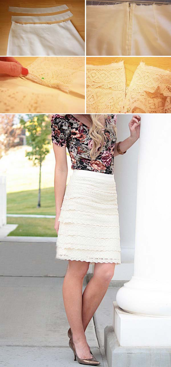 Beige Lace Pencil Skirt. Get the steps