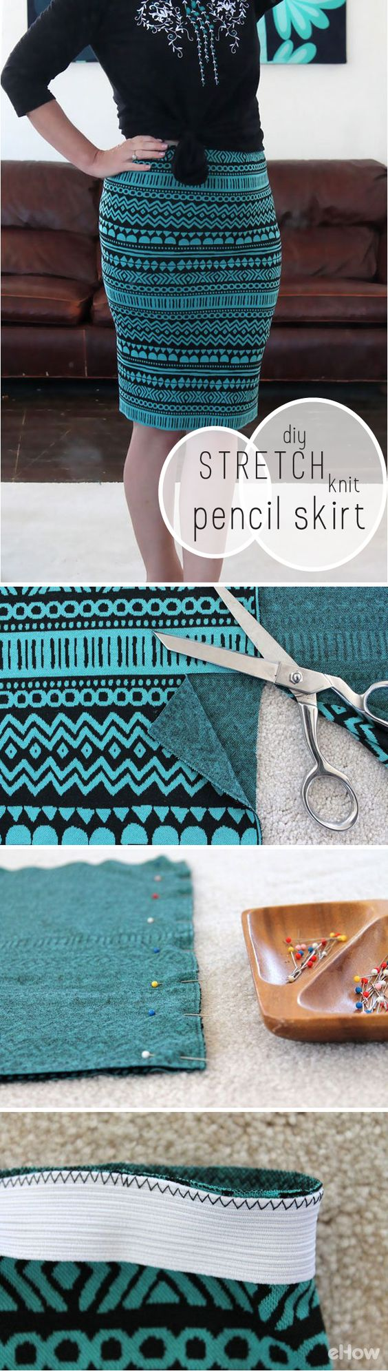 DIY Stretch Knit Pencil Skirt.