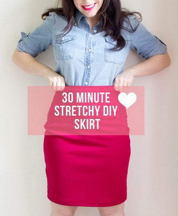 30 Minute Stretchy DIY Skirt.