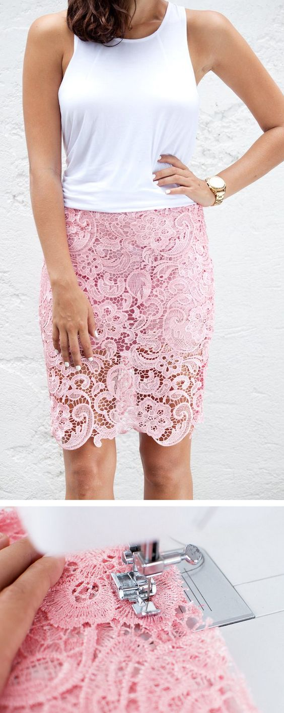 DIY Lace Pencil Skirt.