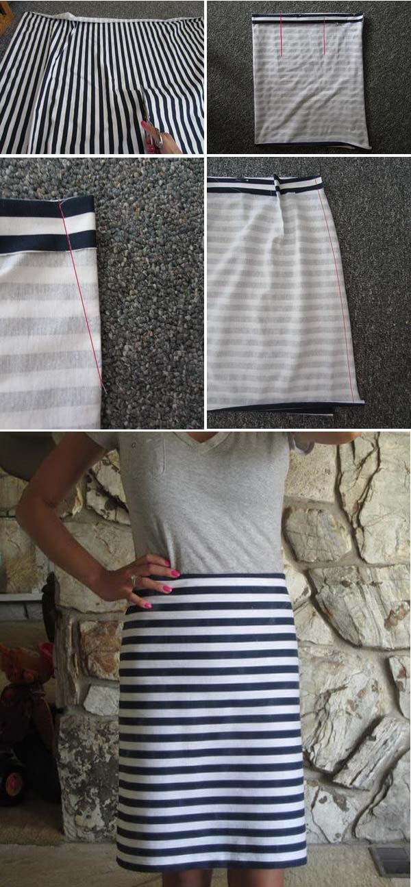 Navy Blue and White Stripped Pencil Skirt.