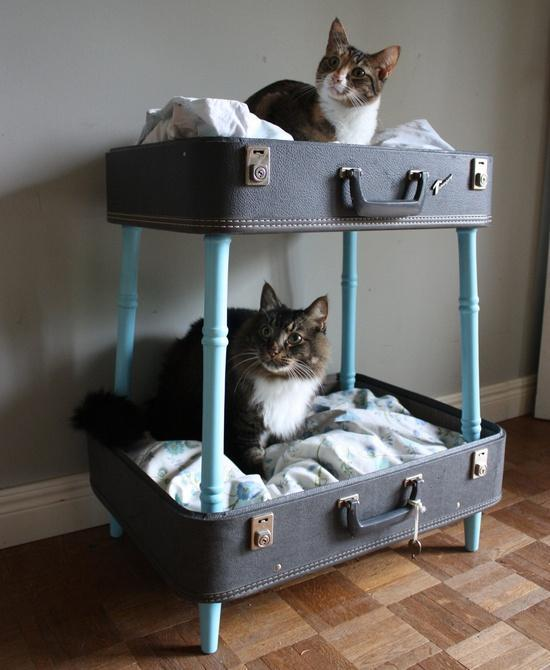 DIY Suitcase Pet Bed.