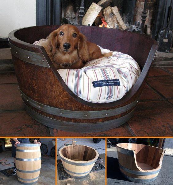 DIY Wine Barrel Dog Bed.