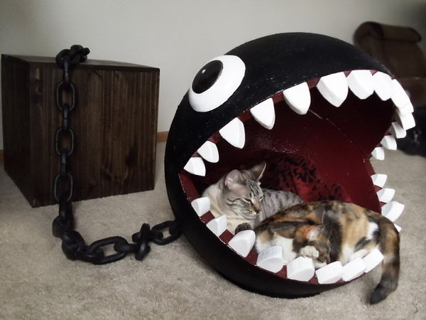 DIY Cat Bed Inspired By Super Mario's Chain Chomp Monster.
