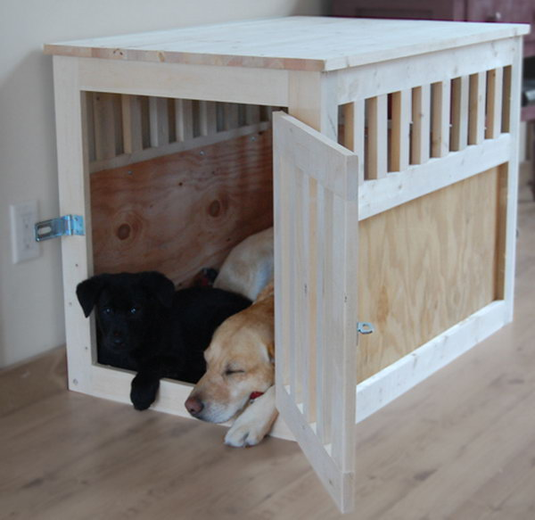 Large Wood Pet Kennel End Table.