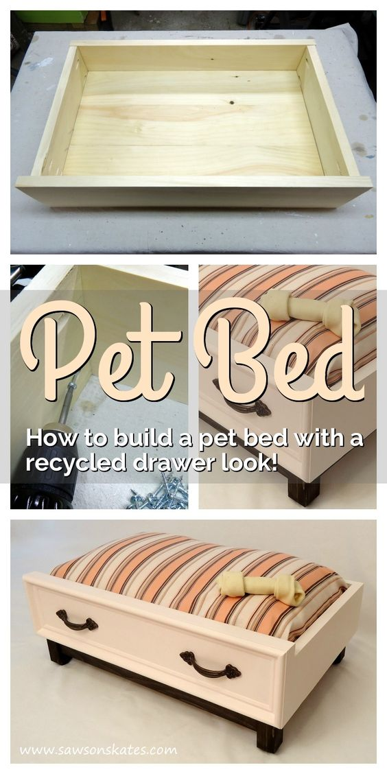 DIY Dog Bed with a Recycled Drawer Look.