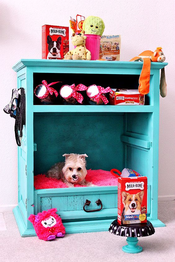 Turn Your Dresser Into a Pet Bed Cabinet.