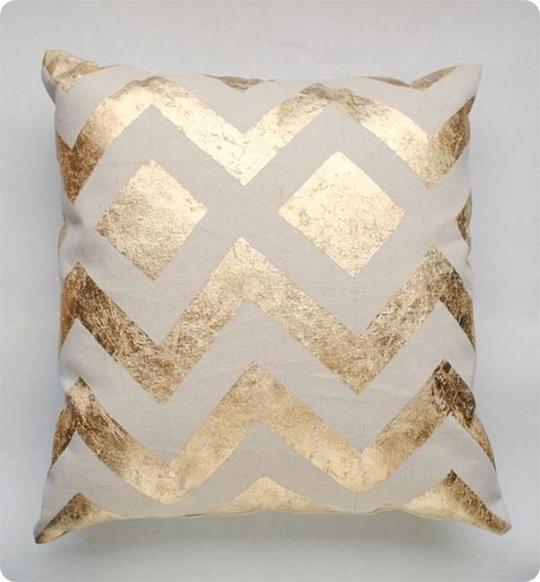 DIY Metallic Gold Pillow .
