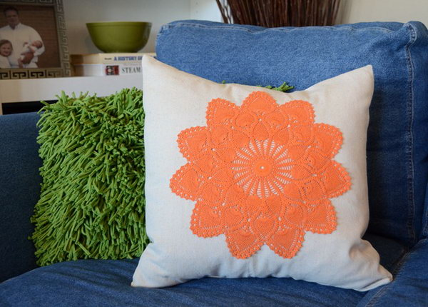 Dyed Doily Pillows