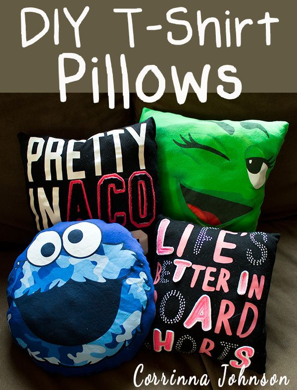 Recycle Old T-shirts into Colorful Pillows.