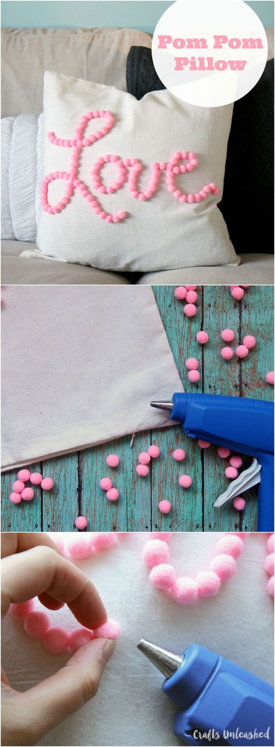 Cute Pom Pom Pillow for Valentine's Day.