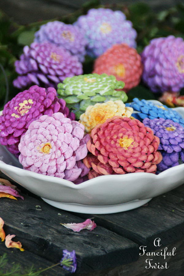 Painted Pine Cones to Look Like Flowers.
