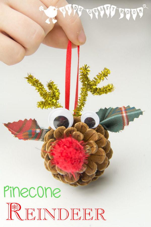Homemade Pinecone Reindeer Ornaments.