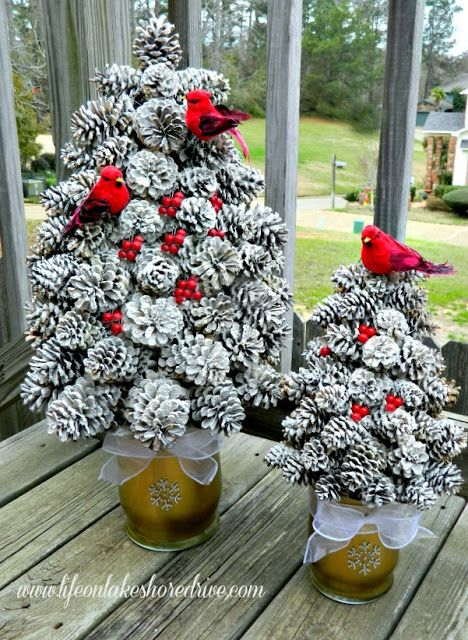 DIY Snowy Pine Cone Tree.