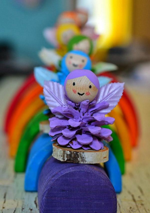 Rainbow Pine Cone Fairies.