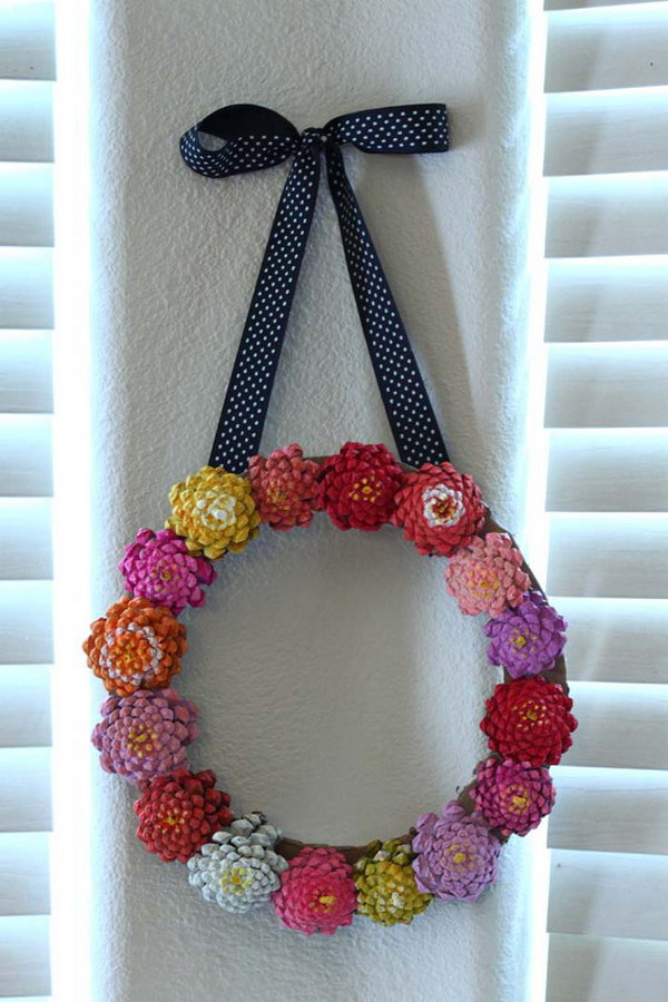Pinecone Flower Wreath.