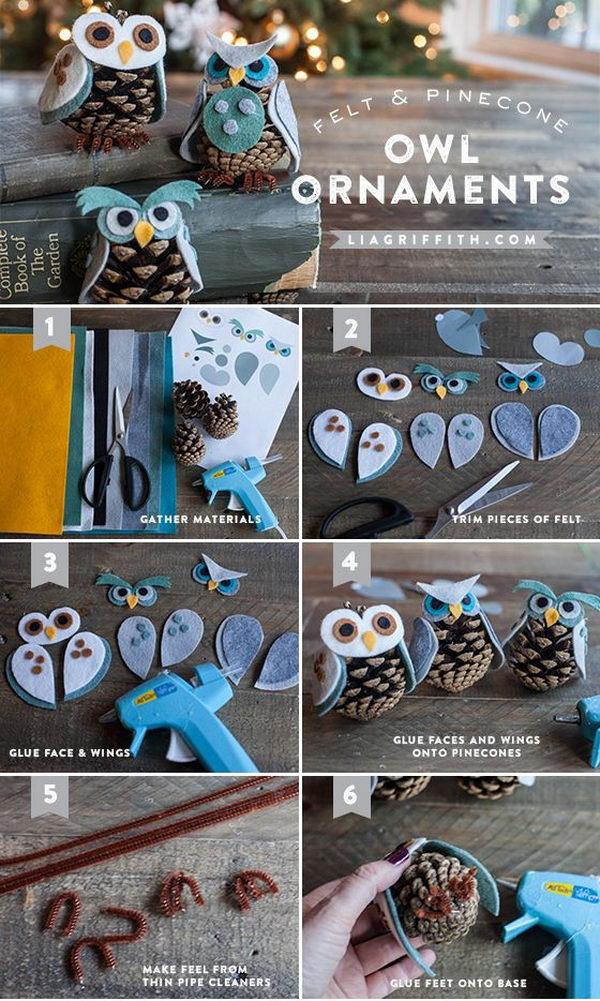 Felt & Pinecone Owl Ornaments.