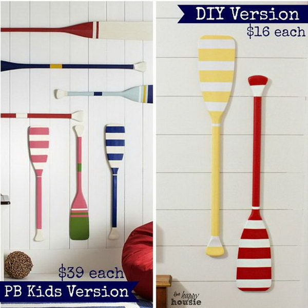 Kids DIY Knockoff Oar Decor