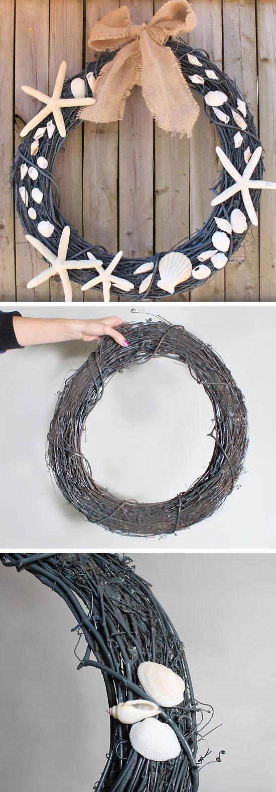 DIY Pottery Barn Shell Wreath.