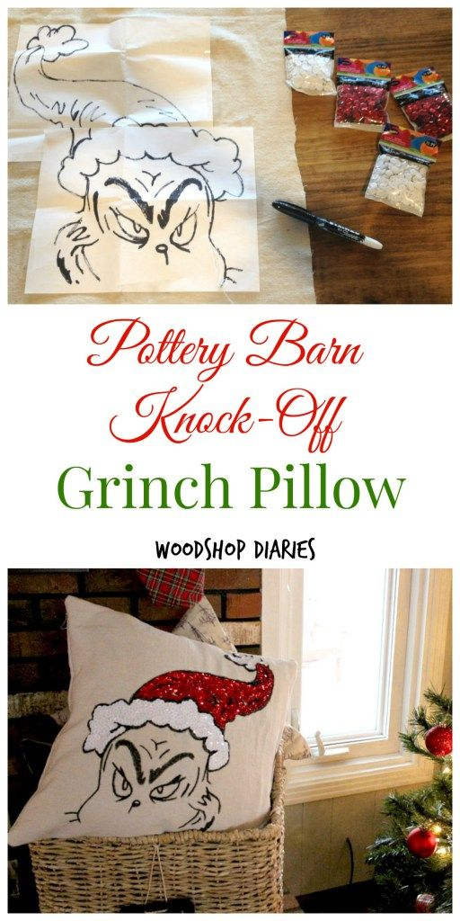 Pottery Barn Knock-Off Grinch Pillow.