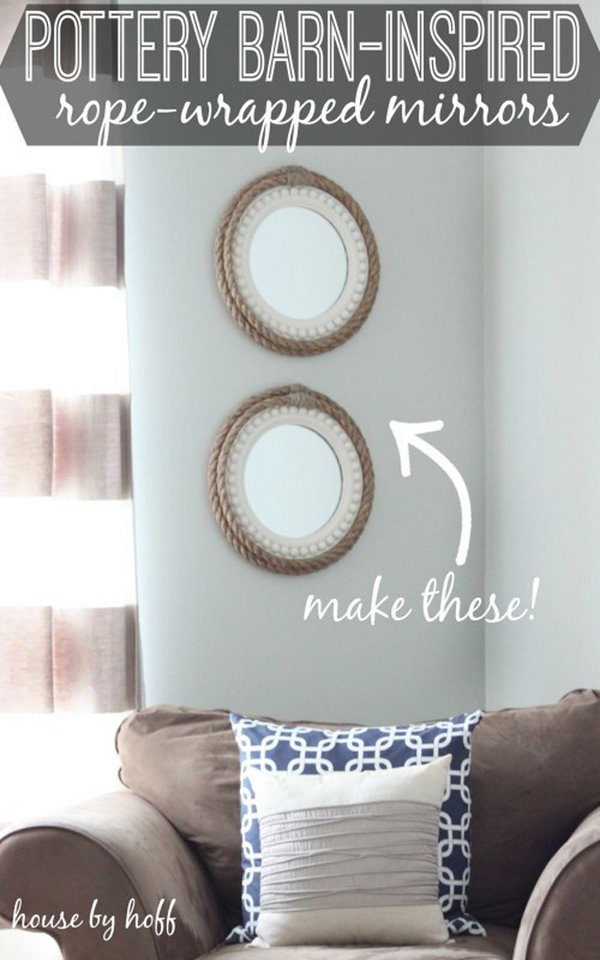 Pottery Barn Inspired Rope Wrapped Mirrors