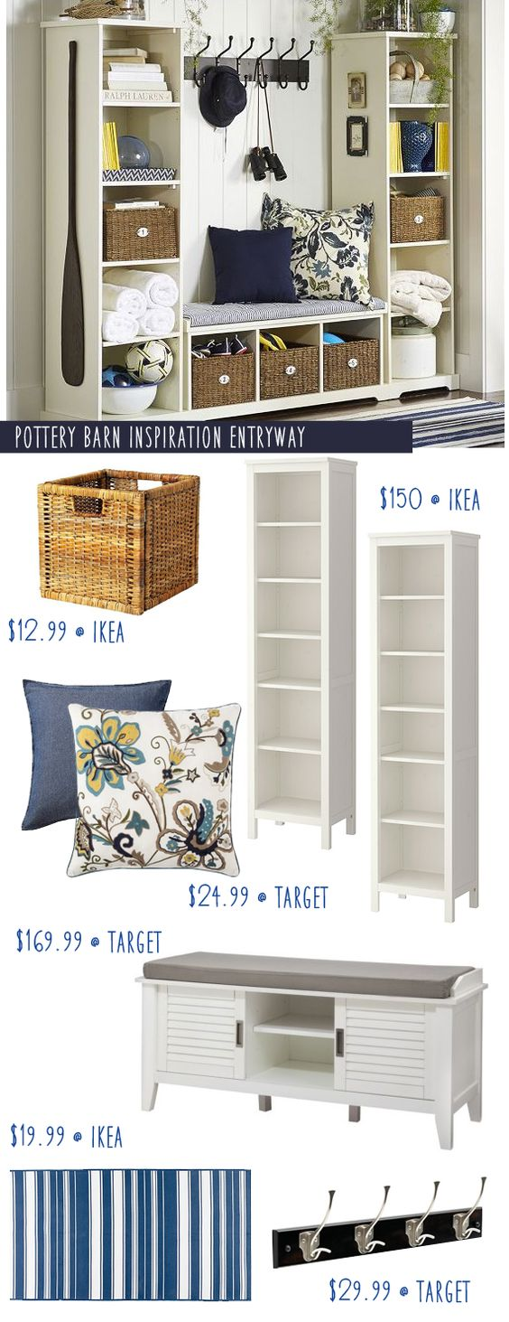Pottery Barn Entryway Inspiration with IKEA Hacks.
