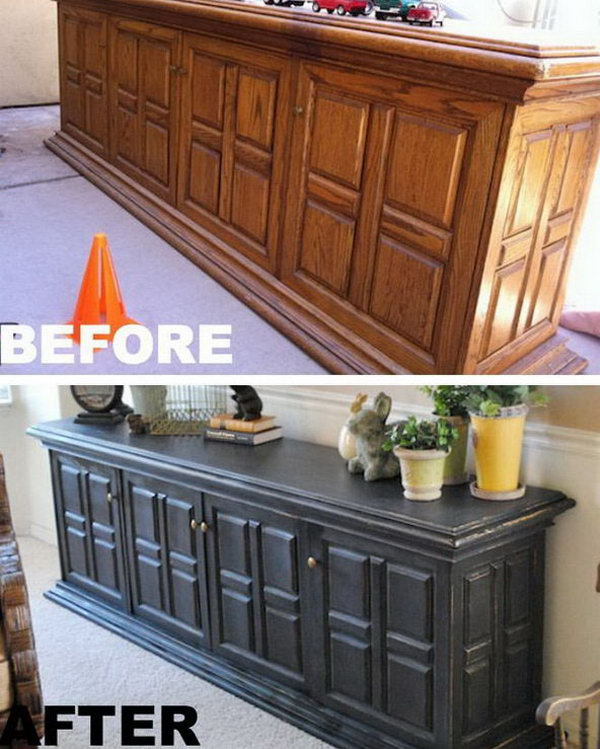 Pottery Barn Inspired Buffet Cabinet Painting