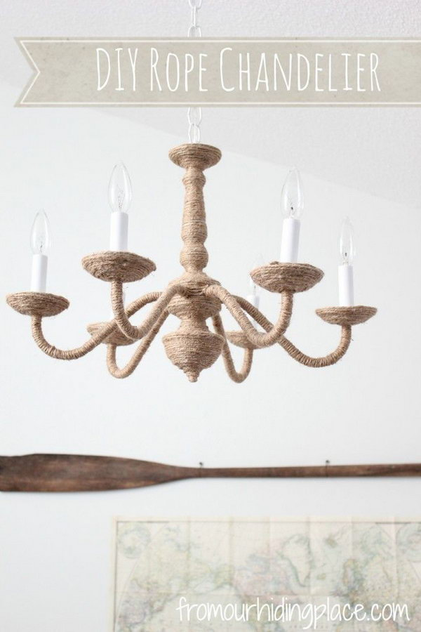 Pottery Barn and West Elm Inspired DIY Rope Chandelier