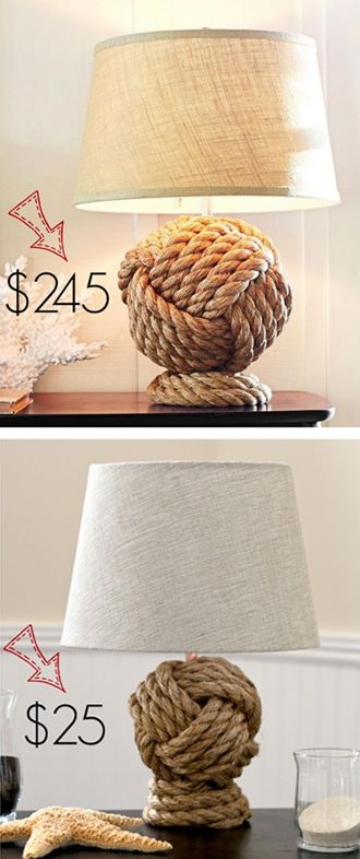 Pottery Barn Knockoff Rope Knot Lamp.