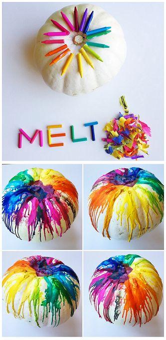 Melted Crayon Pumpkin Decoration.