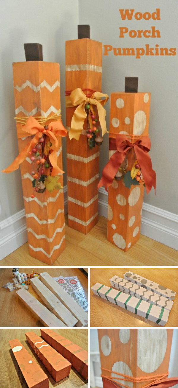 DIY Porch Wood Pumpkins.