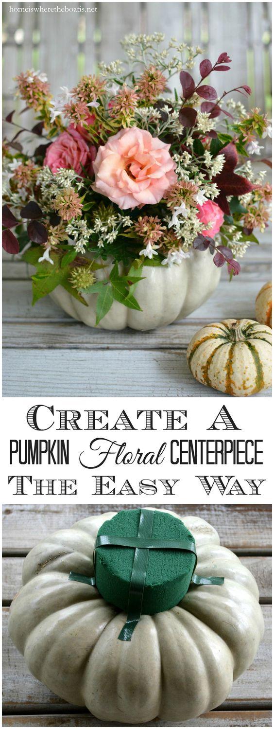 Easy Pumpkin Floral Centerpiece.