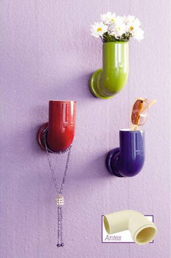 Repurpose PVC Pipe Elbows into Colorful Wall Hooks.