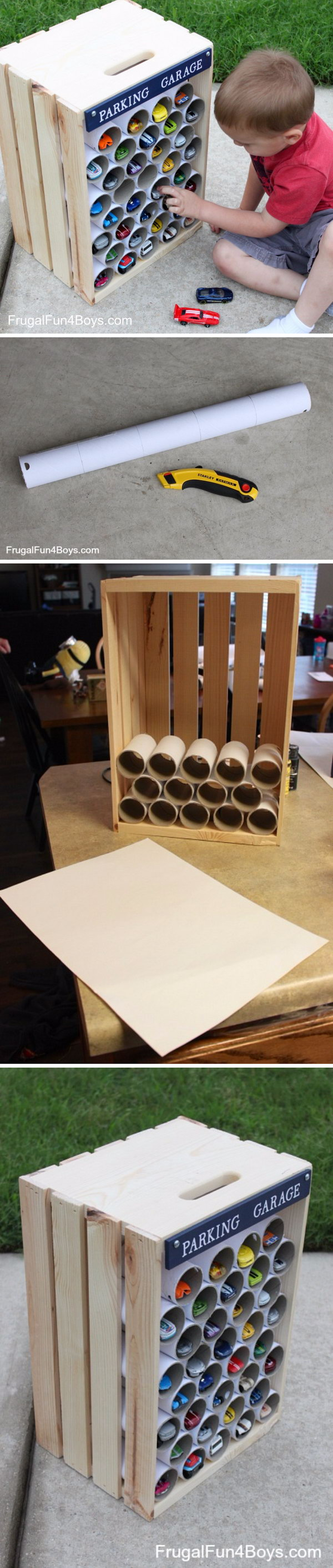 DIY Crate Hot Wheels Storage Made From Wood Crate and PVC Pipes.