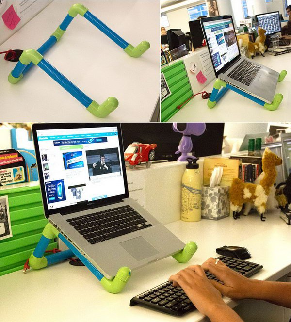 Colorful DIY PVC Pipe Laptop Stand.