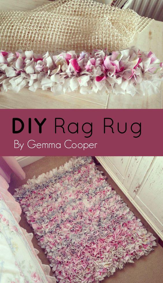 DIY Rag Rug Using Old Bedding.
